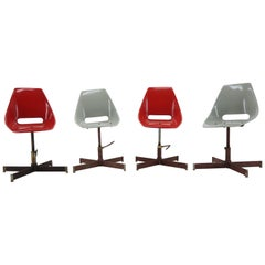 Set of 4 Revolving Industrial Chairs, 1960s