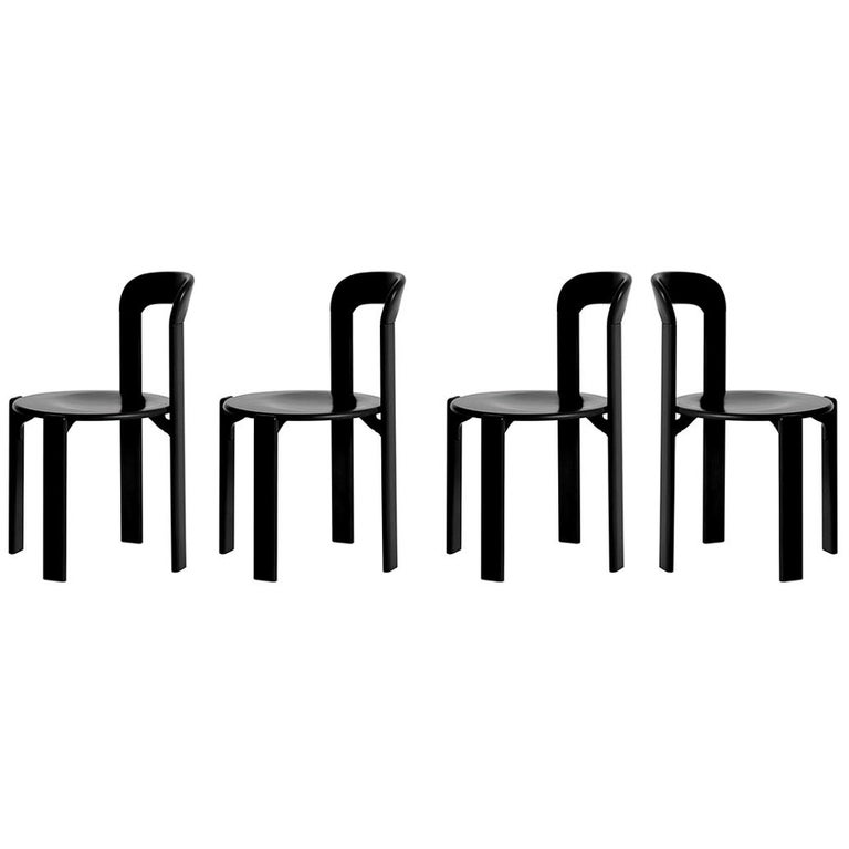 Set of 4 Black Rey Chairs by Dietiker, a Swiss Icon since 1971 For Sale