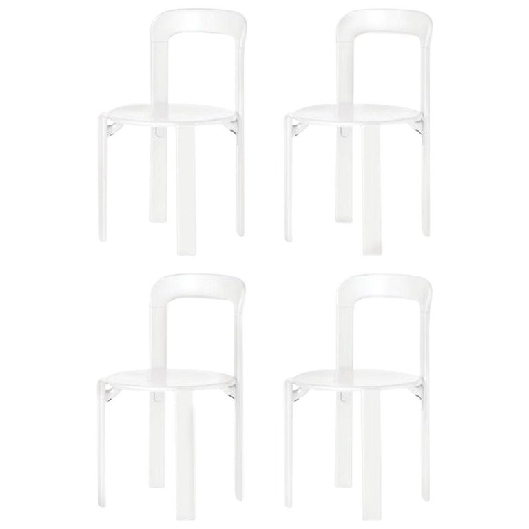 Mid Century Modern - Set of 4 Rey - White Dining Chairs (Design 1971) For Sale