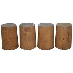 Set of 4 Riva 1920 Handmade in Italy Cedar Wood Stools Part Suite