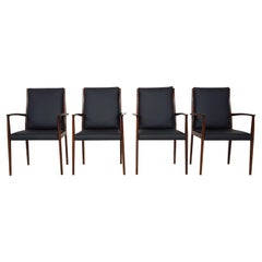 Set of 4 Rosewood and Black Leather Dining Chairs, Danish Modern, 1950s