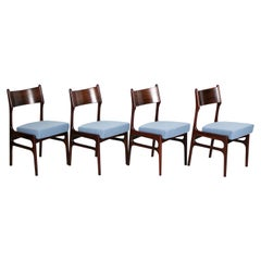 Set of 4 Rosewood Chairs with Kvadrat Wool Upholstery