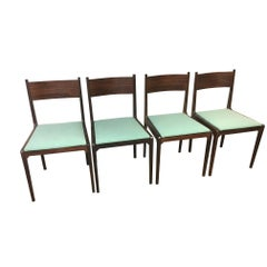 Gio Ponti and Rosselli Rosewood and Green Fustian Italian Dining Chairs, 1959