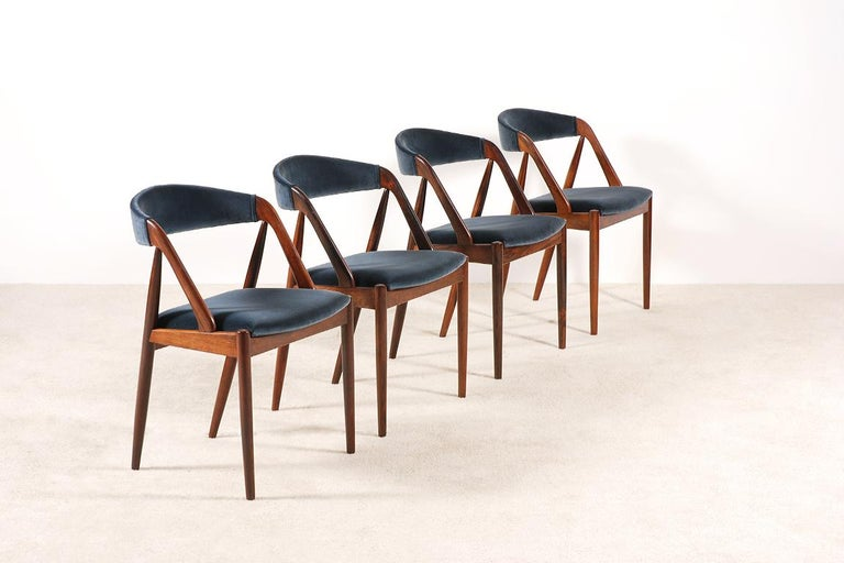 Danish Set of 4 Rosewood Dinning Chairs by Kai Kristiansen, 1960s For Sale