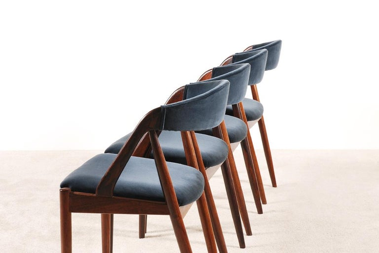 Mid-20th Century Set of 4 Rosewood Dinning Chairs by Kai Kristiansen, 1960s For Sale