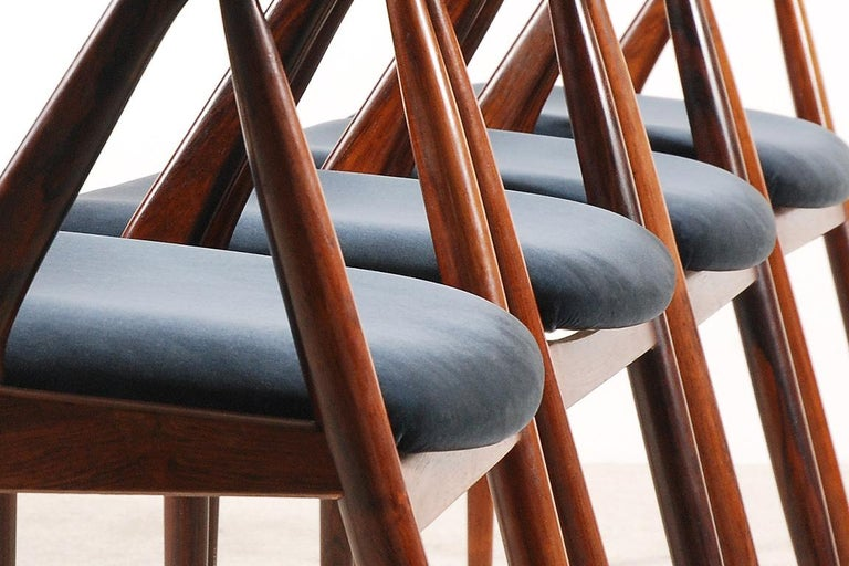 Fabric Set of 4 Rosewood Dinning Chairs by Kai Kristiansen, 1960s For Sale