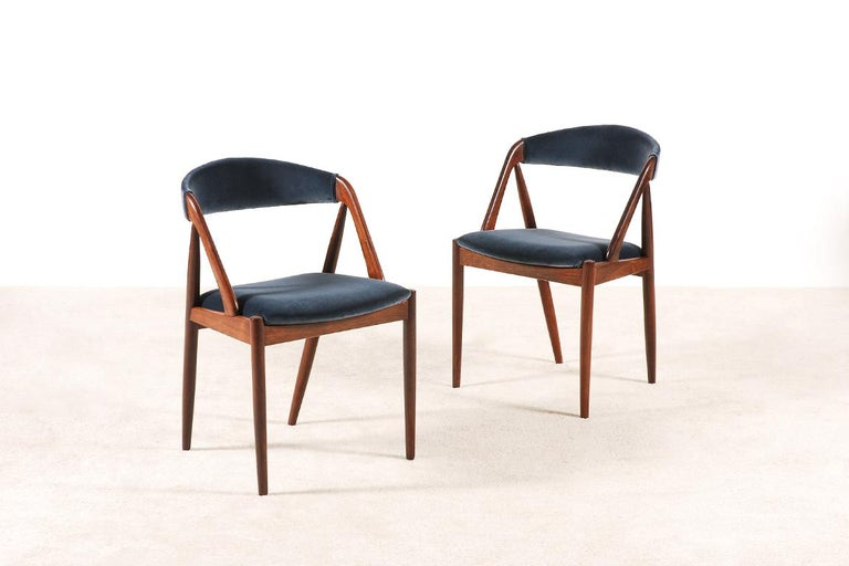 Set of 4 Rosewood Dinning Chairs by Kai Kristiansen, 1960s For Sale 1