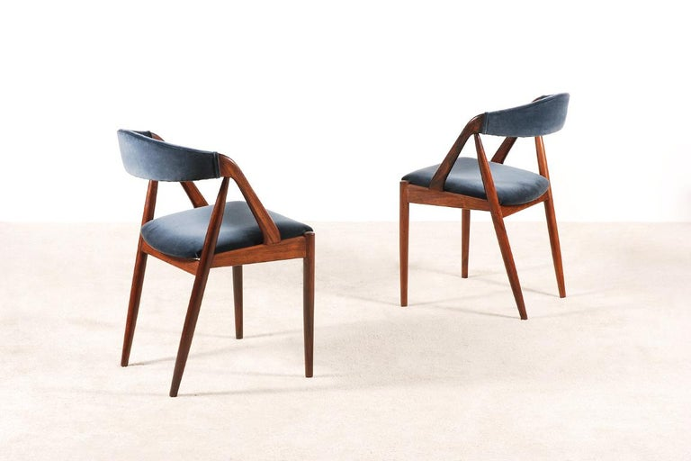 Set of 4 Rosewood Dinning Chairs by Kai Kristiansen, 1960s For Sale 2