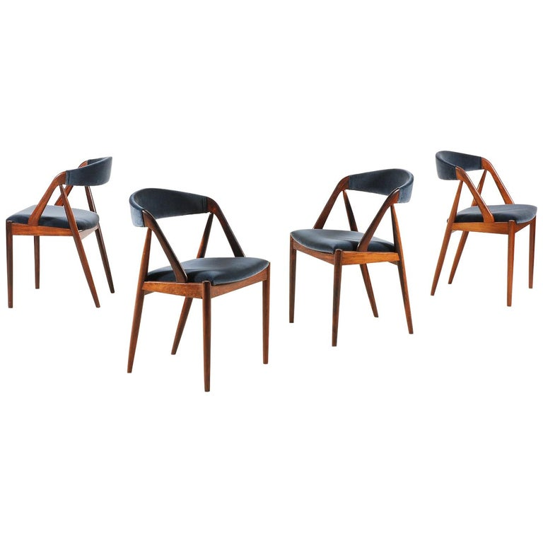 Set of 4 Rosewood Dinning Chairs by Kai Kristiansen, 1960s For Sale
