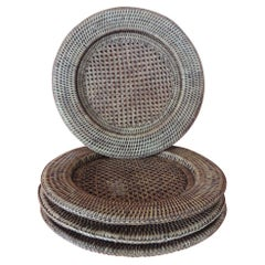 "Set of ""4"" Round Rattan Woven Plate Chargers from Burma"