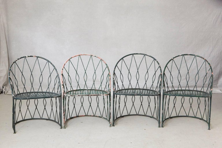 Wrought Iron Barrel Chair Outdoor Cushions: Set Of Four Round Wrought Iron Salterini Barrel Back Patio