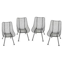 "Set of 4 Russell Woodard Black ""Sculptura"" Dining Indoor Outdoor Side Chairs"