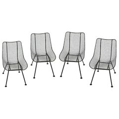 "Set of 4 Russell Woodard Original Black ""Sculptura"" Dining Side Chairs"