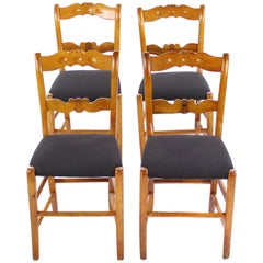Set of 4 rustic Biedermeier Period Chairs, Germany circa 1830 Massive Cherrywood