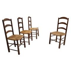 Set of 4 Rustic Oak Chairs