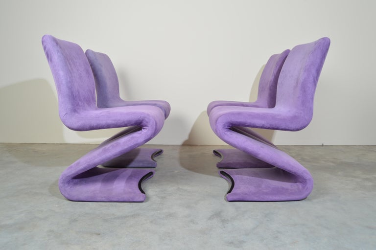 Mid-Century Modern Set of 4 S Form Dining Chairs in Ultrasuede Attributed to Verner Panton