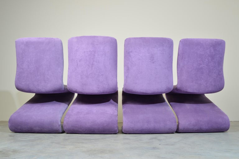 American Set of 4 S Form Dining Chairs in Ultrasuede Attributed to Verner Panton