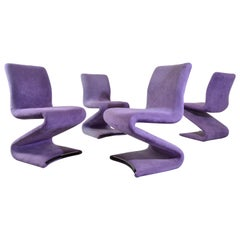 Set of 4 S Form Dining Chairs in Ultrasuede Attributed to Verner Panton