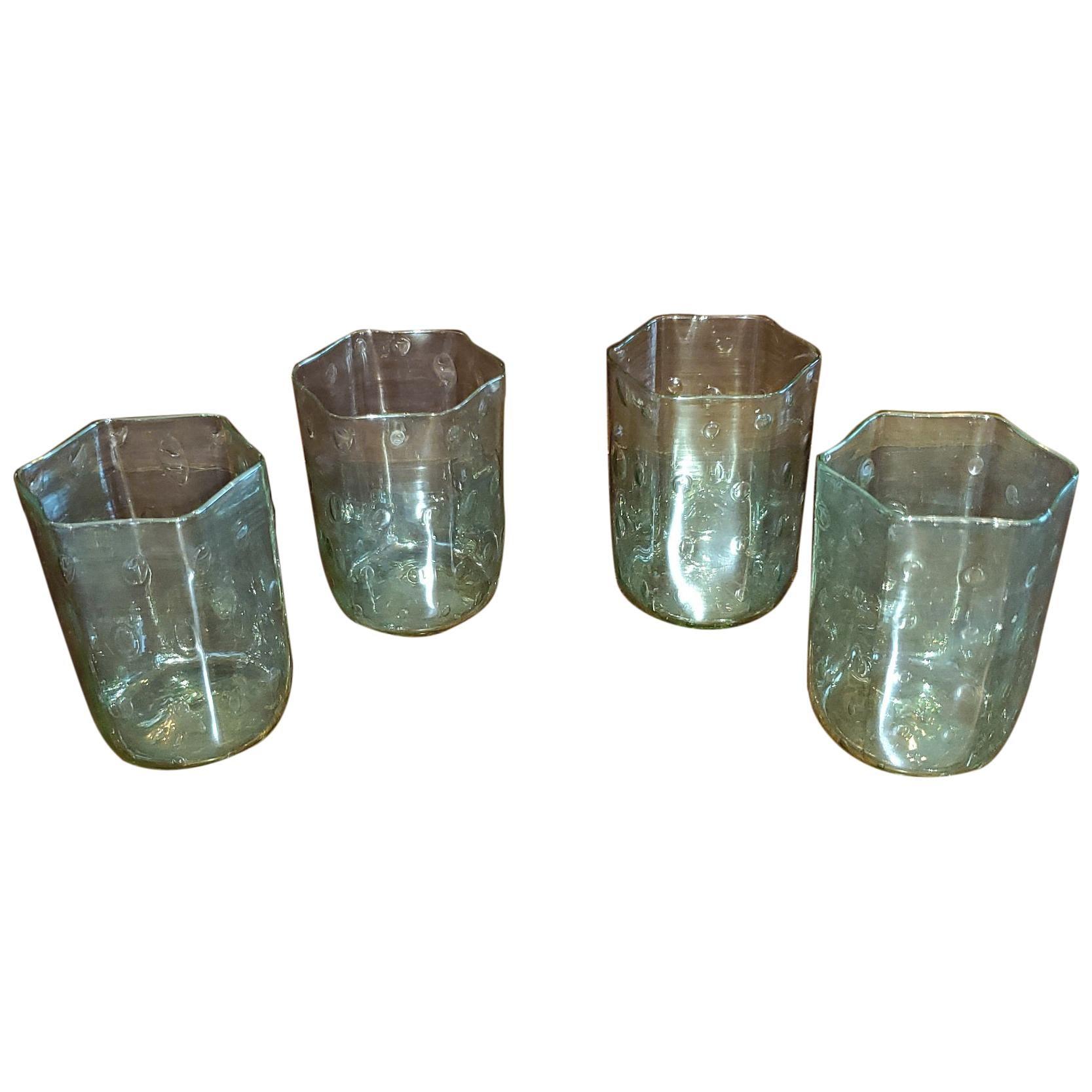 Set of 4 Salviati Venetian Glass Hexagonal Tumblers