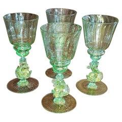 Set of 4 Salviati Venetian Glass Medium Wine Goblets