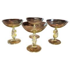Set of 4 Salviati Venetian Swan Flat Champagne Flutes