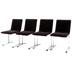 Set of 4 Saporiti Dining Chairs, 1970s newly upholstered in black mohair velvet