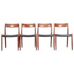 Set of 4 Scandinavian Chairs Model 77 by Niels Møller