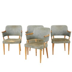 Set of Four Scandinavian Design Ash and Oak Armchairs