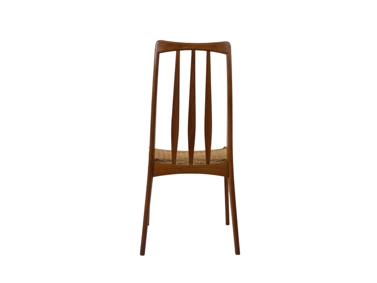 20th Century Set of 4 Scandinavian Design Vintage Dining Chairs in Papercord and Teak For Sale