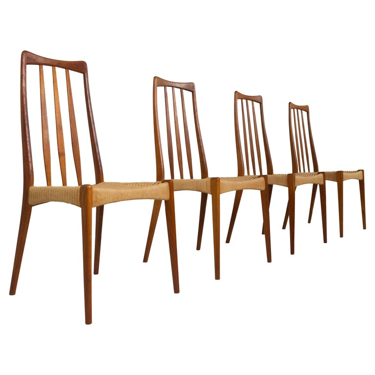 Set of 4 Scandinavian Design Vintage Dining Chairs in Papercord and Teak For Sale