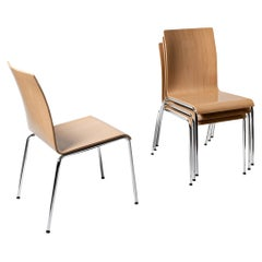 Set of 4 Scandinavian Modern Poro S Dining Chairs in Beech, Made in Switzerland