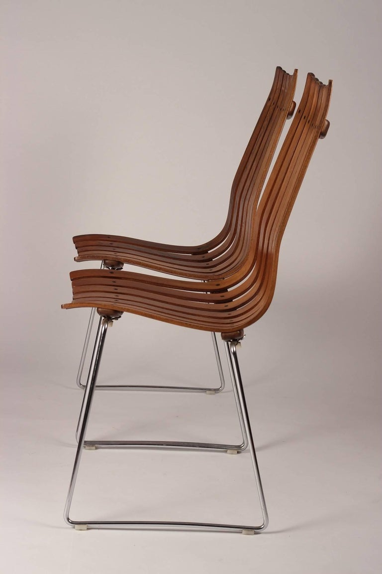 Scandinavian Modern Rosewood Dining Chairs by Hans Brattrud In Good Condition For Sale In London, GB