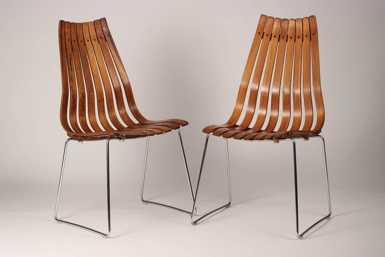 Mid-20th Century Scandinavian Modern Rosewood Dining Chairs by Hans Brattrud For Sale