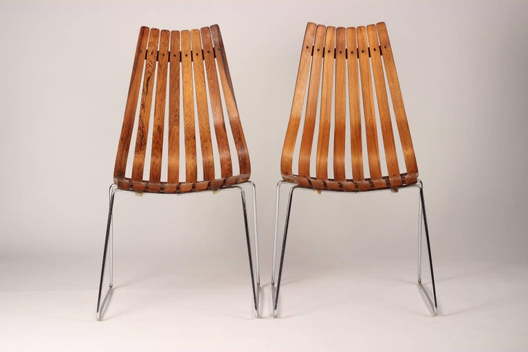 Chrome Scandinavian Modern Rosewood Dining Chairs by Hans Brattrud For Sale