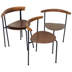 Set of 4 Scandinavian Stacking 3- Legged Teak, Beech, and Metal Dining Chairs