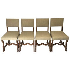 Set of 4 Scottish Arts & Crafts Limed Oak Chairs Upholstered in Natural Linen