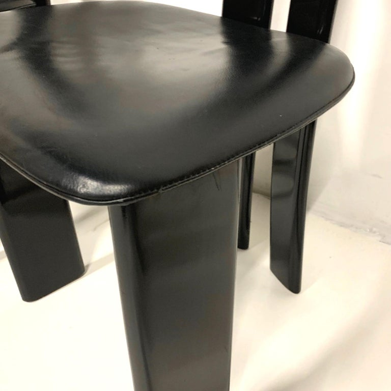 Set of 4 Sculptural 1970s Black Lacquer Pierre Cardin Chairs with Leather Seats In Good Condition For Sale In Hudson, NY