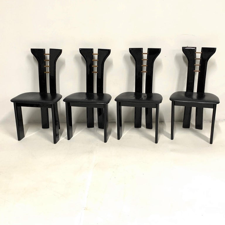 Late 20th Century Set of 4 Sculptural 1970s Black Lacquer Pierre Cardin Chairs with Leather Seats For Sale