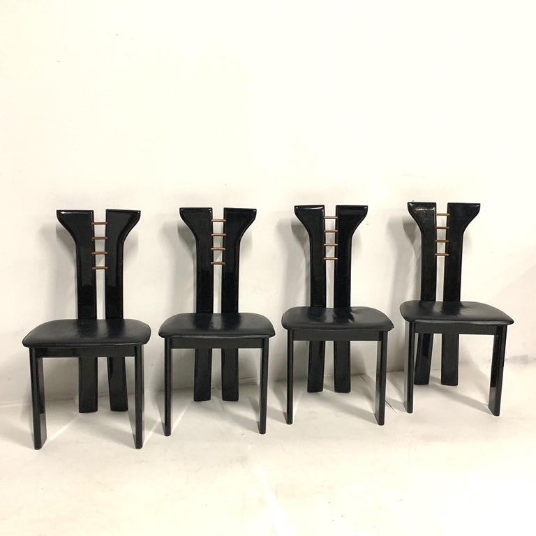 Wood Set of 4 Sculptural 1970s Black Lacquer Pierre Cardin Chairs with Leather Seats For Sale