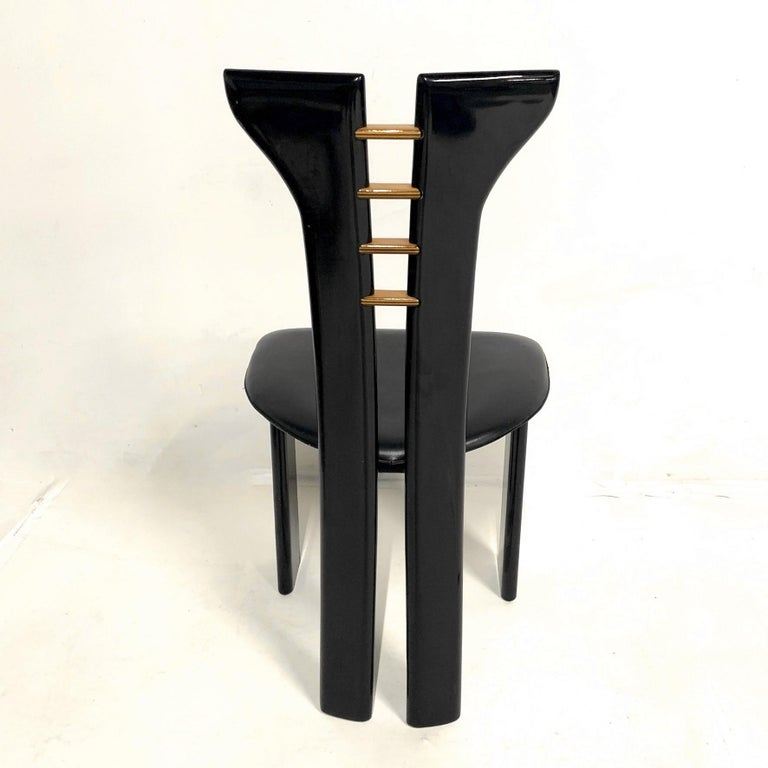 Set of 4 Sculptural 1970s Black Lacquer Pierre Cardin Chairs with Leather Seats For Sale 1