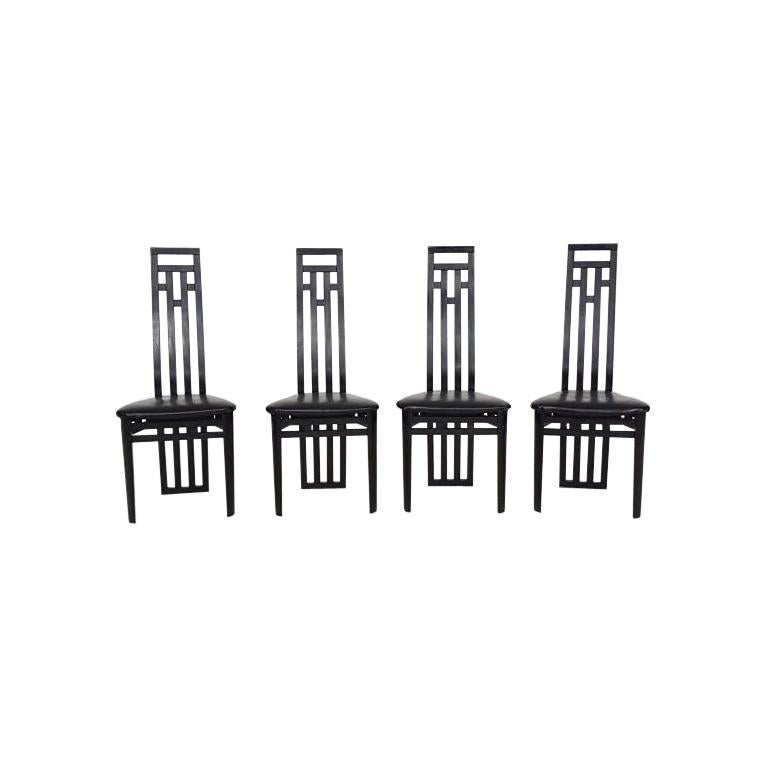Prime Set Of 4 Sculptural Italian Modern Black Leather Dining Chairs By A Sibau Squirreltailoven Fun Painted Chair Ideas Images Squirreltailovenorg