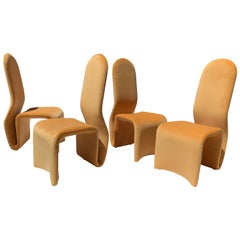 """Set of 4 Sculptural """"Ribbon"""" Dining Chairs in the Style of Olivier Mourgue"""