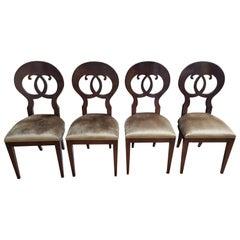Set of 4 Seats Biedermeier Briarwood, Gold Velvet Cover