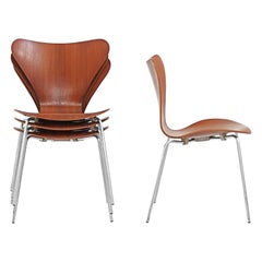 Set of 4 Series 7 Butterfly Chairs in Teak by Arne Jacobsen for Fritz Hansen