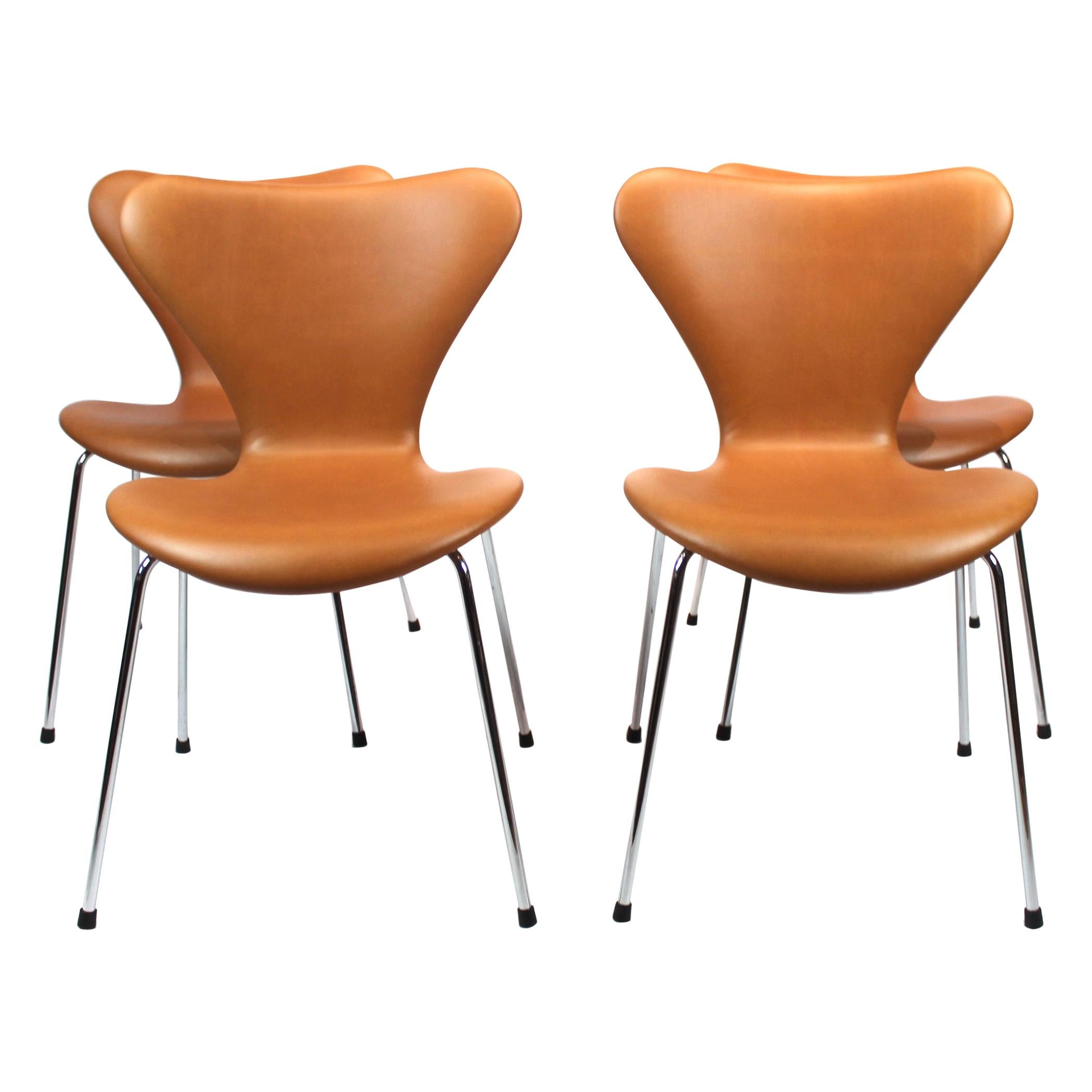 Set of 4 Seven Chairs, Model 3107, by Arne Jacobsen and Fritz Hansen