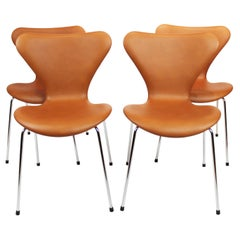 Set of 4 Series 7 Chairs, Model 3107, Cognac Leather, Designed by Arne Jacobsen