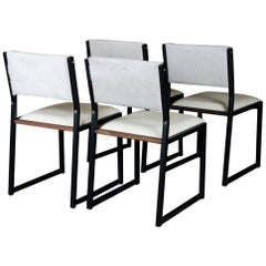 Set of 4, Shaker Chair by Ambrozia, Walnut, Black Steel, Leather & Cow Hide