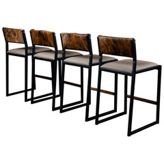 ''Set of 4'' Shaker Counter Stool Chair by Ambrozia, Walnut, Vinyl & Cowhide