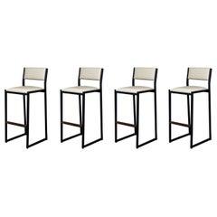 'Set of 4' Shaker Counter stools by Ambrozia, Walnut, Black Steel, Cream Vinyl