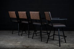 ''Set of 4'' Shaker Swivel armchair, by Ambrozia, Ebonized Oak, Black Steel, COL